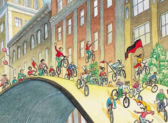 detail from the cover of the book Critical Mass: Bicycling's Defiant Celebration